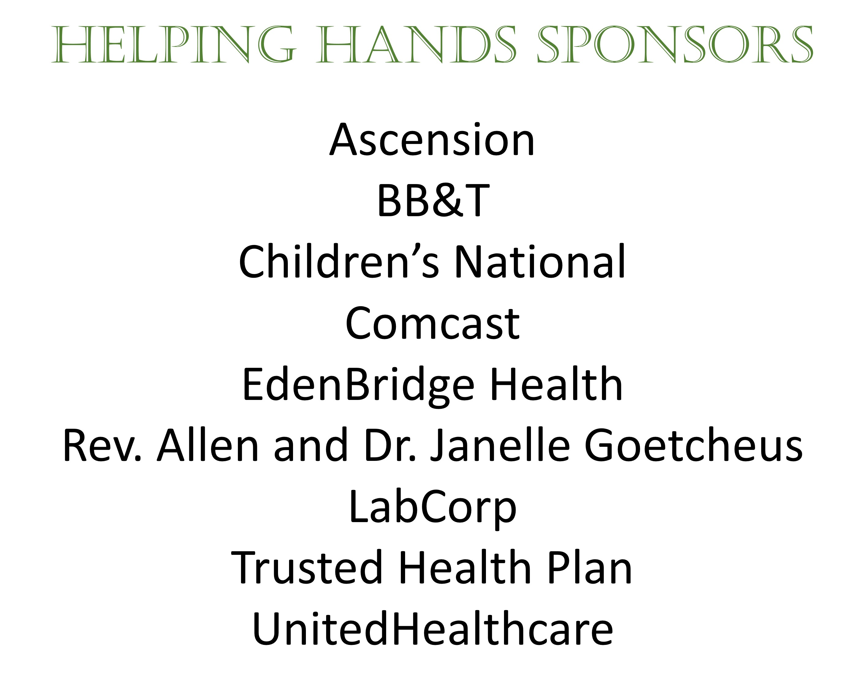 Helping Hands Sponsor 11.5.19